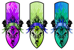 Devil tribal tattoo figure set in cute colors Stock Photo