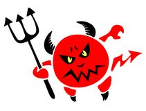Devil with a trident. The stylized figure of a red spiteful devil with a trident on a white background Stock Image