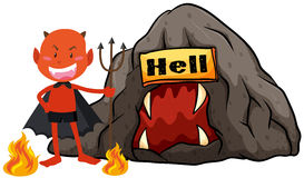 Devil with trident in hell Stock Images