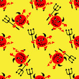 Devil with trident seamless pattern Royalty Free Stock Images
