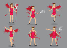 She-Devil Vector Cartoon Character Set Royalty Free Stock Photo