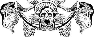 Devil. Vector illustration of screaming goat-horned devil against on  white background Stock Photo