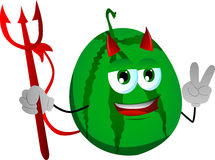 Devil watermelon gesturing the peace sign Royalty Free Stock Photo