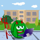 Devil watermelon holding laptop in front of a school Stock Image