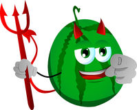 Devil watermelon pointing at viewer Royalty Free Stock Image