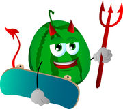 Devil watermelon with skateboard Stock Photography