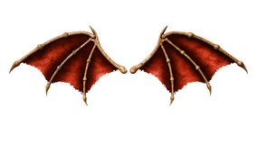 Devil Wings, Demon Wing. 3d Illustration Devil Wings, Demon Wing Plumage Isolated on White Background Stock Images