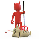 Devil With His Trident Stuck In Sack Of Dollars Stock Photo