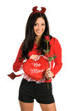 Devil Woman Close Up. Beautiful latina woman with Devil horns and a red rose royalty free stock photos
