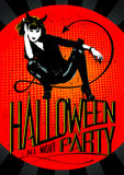 Devil woman Halloween party. Royalty Free Stock Image