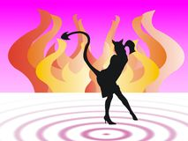 Devil woman shape. Colored background with flames and evil woman Royalty Free Stock Photo