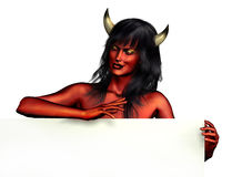 Devil Woman with Sign Edge. 3D render of a devil woman with a sign edge - white background Royalty Free Stock Image