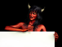 Devil Woman with Sign Edge Royalty Free Stock Photography
