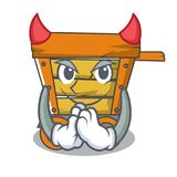 Devil wooden trolley mascot cartoon. Vector illustration vector illustration