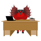 Devil of workplace. Satan boss sitting in office. Red demon at w Stock Image