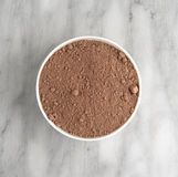 Devil's food cake mix in a white bowl Royalty Free Stock Images