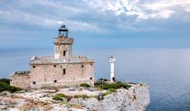 Devil& x27; s-Punkt-Leuchtturm: Tremiti-Inseln, adriatisches Meer, Italien Stockbild
