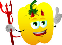 Devil yellow bell pepper with attitude Royalty Free Stock Image