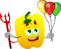 Devil yellow bell pepper with balloons Stock Photos