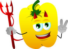Devil yellow bell pepper gesturing the peace sign Royalty Free Stock Photo