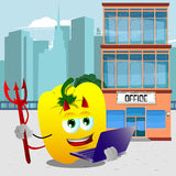 Devil yellow bell pepper holding laptop in front of an office building Royalty Free Stock Photos