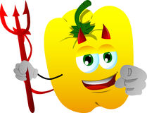 Devil yellow bell pepper pointing at viewer Royalty Free Stock Photography