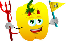 Devil yellow bell pepper sports fan with flag Stock Image