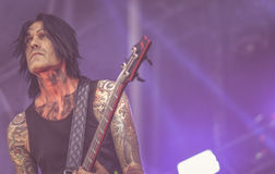 DevilDriver,地亚哥伊瓦拉在音乐会居住2017年,重金属 免版税库存照片
