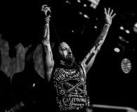 DevilDriver, Dez Fafara在音乐会居住2017年,重金属 免版税库存照片
