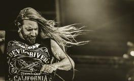 DevilDriver, Dez Fafara在音乐会居住2017年,重金属 库存照片