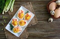 deviled?? 可口开胃菜 熟蛋充塞用卵黄质,芥末,蛋黄酱,辣椒粉 经典食谱 免版税库存图片