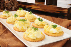 Deviled egg canapes Royalty Free Stock Photos