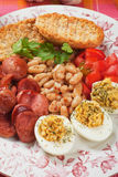 Deviled eggs with beans and sausage Royalty Free Stock Photography