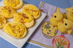 Deviled eggs,Easter colored Royalty Free Stock Image
