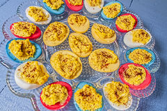 Deviled eggs,Easter colored royalty free stock photography