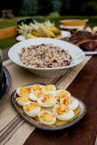 Deviled Eggs at a Fall Outdoor Dinner Party. Deviled eggs served during a fall outdoor dinner party on a rustic dining room table Royalty Free Stock Image