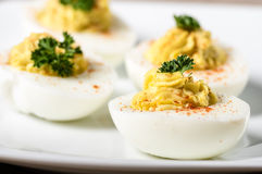 Deviled eggs garnished with parsley and paprika. Piped and filled deviled eggs garnished with parsley and paprika stock photography