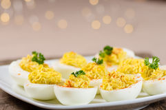 Deviled eggs garnished with parsley and paprika Royalty Free Stock Image