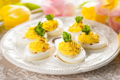 Deviled eggs with paprika Royalty Free Stock Photos