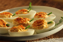 Deviled eggs  with red pepper Stock Image