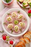 Deviled eggs, stuffed eggs filled with a paste made from smoked ham, mayonnaise, egg yolks and fresh chive on a plate. Deviled eggs, stuffed eggs filled with a royalty free stock photography