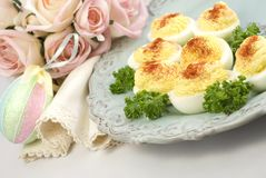 Deviled Eggs With Easter Plate And Decorations Stock Photo