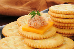 Deviled ham and cheese canapes Royalty Free Stock Photography