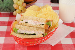 Deviled ham sandwich in a basket Stock Images