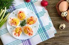 deviled jaj pyszna zak?ska Gotowani jajka faszerowali z yolk, musztarda, majonez, papryka Klasyczny przepis zdjęcie stock