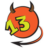 Devilish ball with number thirteen Stock Photography