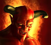 Devilish Grin. 3D rendered portrait of a devil with a devious grin stock illustration