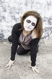 Devilish woman crazy. Satanic disturbed woman with mental problems Stock Images