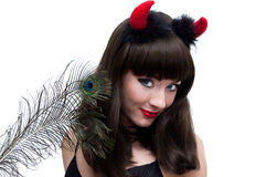Devilish woman with horns Stock Photography