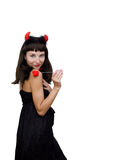 Devilish woman with horns and fabric heart Royalty Free Stock Photos